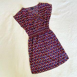 Gap Printed Red Heart Cap Sleeve Smock Waist Dress